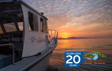 Santa Barbara Channelkeeper's boat, R/V Channelkeeper on the water during a beautiful sunset.