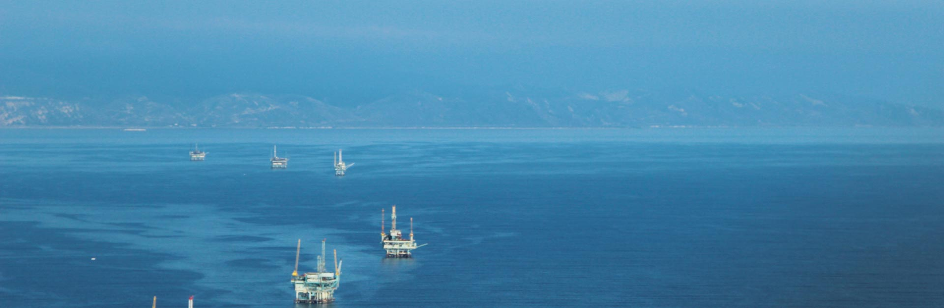 A row of decommissioned oil platforms along the Santa Barbara channel.