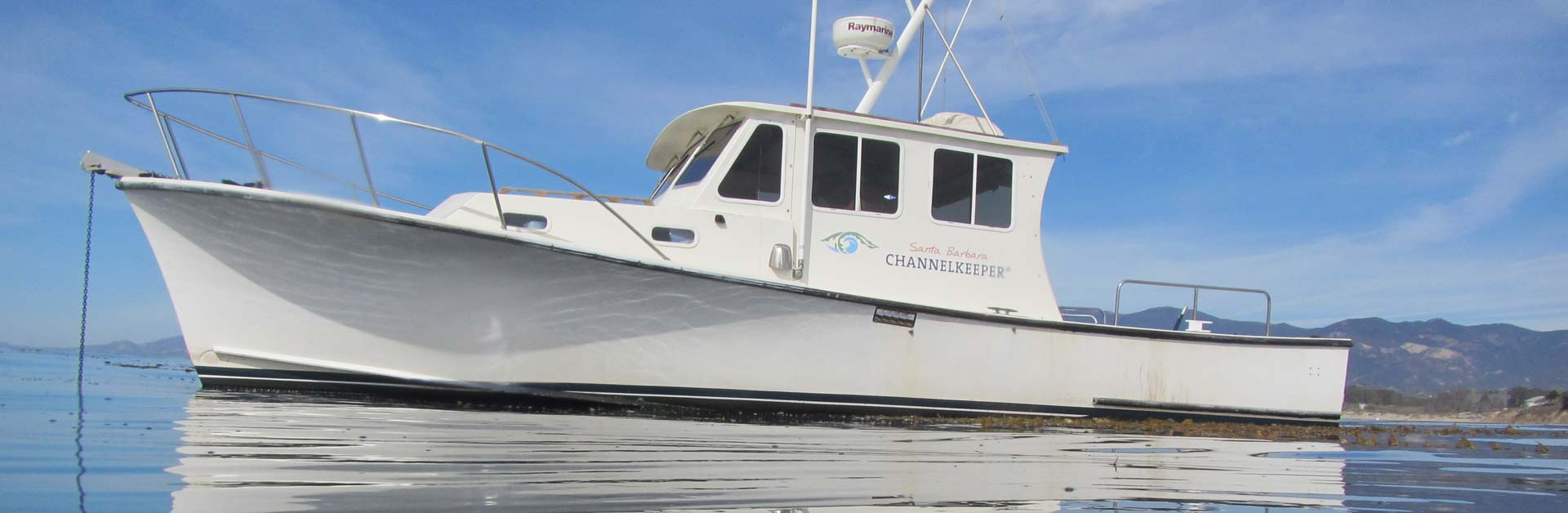Santa Barbara Channelkeeper's boat at anchor.