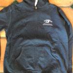 Santa Barbara Channelkeeper's black hoodie, front.