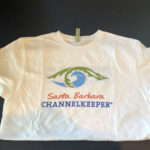 Santa Barbara Channelkeeper's white T-shirt, front.
