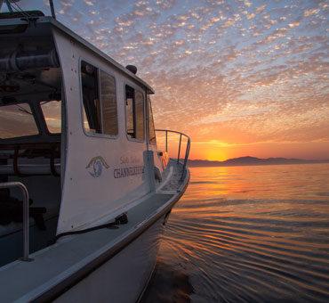 Santa Barbara Channelkeeper's boat at sunset.