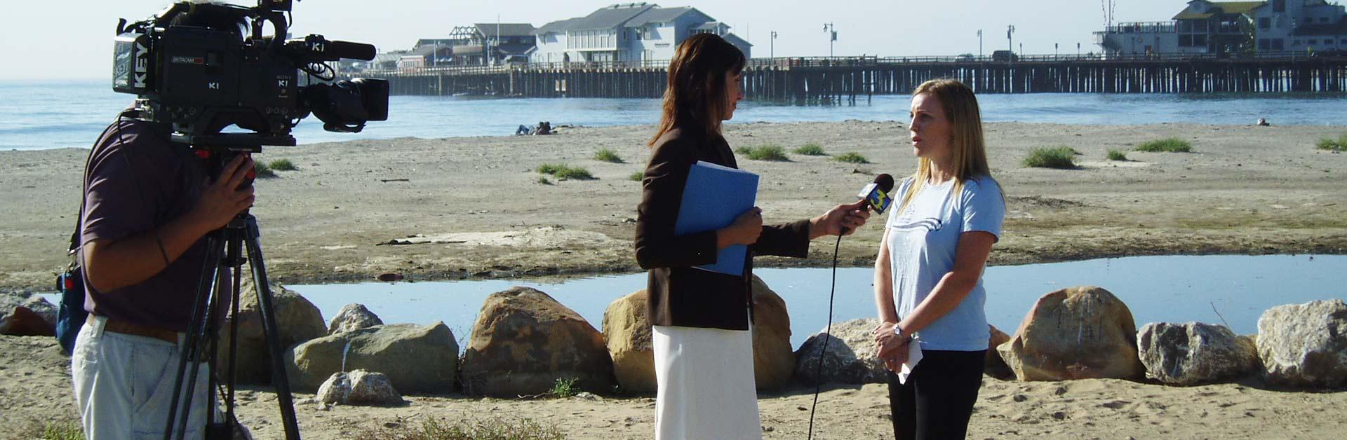 Santa Barbara Channelkeeper's Kira Redmond being interviewed.